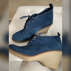 Blue Suede Wedges Size 9.5